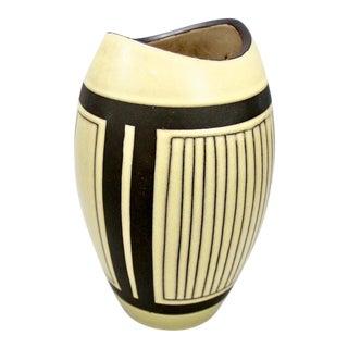 Mid-Century European Yellow & Brown Ceramic Vase