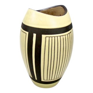 Mid-Century European Yellow & Brown Ceramic Vase