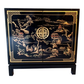 Drexel Asian Chippendale Black Lacquer Decorated Bar/Small Cabinet