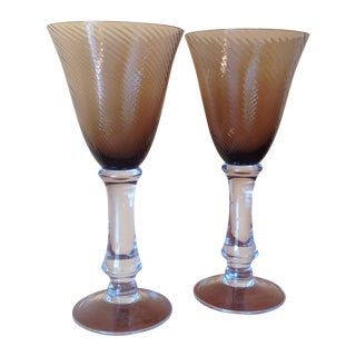 Hand-Blown Smokey Topaz Wine Goblets - A Pair