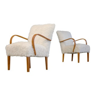 Fritz Hansen Style Pair of Danish, 1940s Lounge Easy Chairs in Faux Lambswool