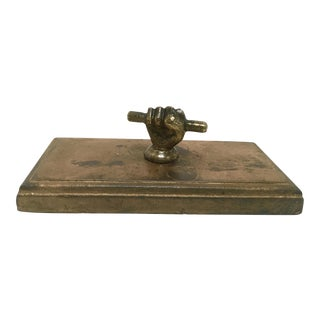 Late 1800s Cast Bronze Relay Baton & Hand Paperweight