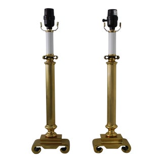 Neoclassical Brass Columnar Candlestick Table Lamps- A Pair
