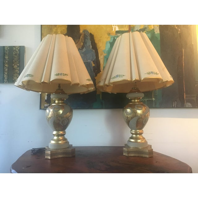 Mid-Century Hollywood Regency Gilt Lamps - A pair - Image 7 of 11