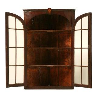Antique English Georgian Mahogany Glazed Corner Cabinet