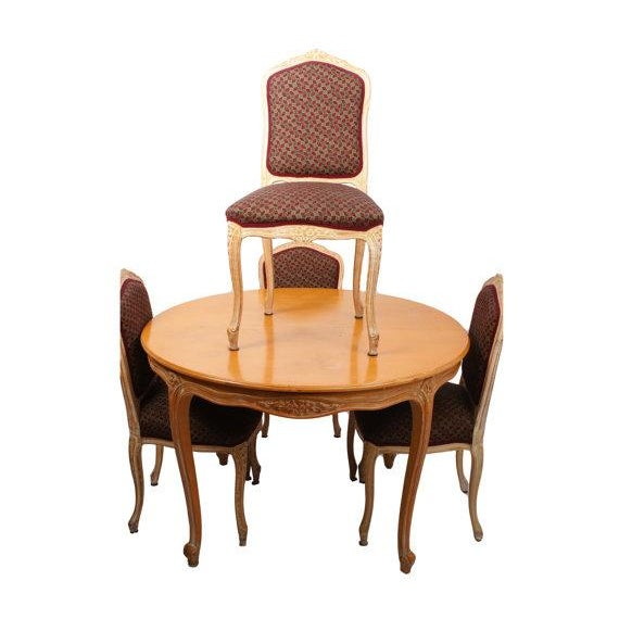French Provincial Dining Table & Four Chairs - Image 1 of 6