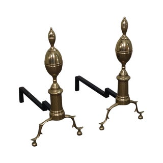 Virginia Metalcrafters Colonial Williamsburg Brass Andirons - a Pair