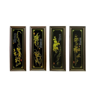 Chinese Carved Glass Gold Painting Four Seasons Flowers Panel Wall Art