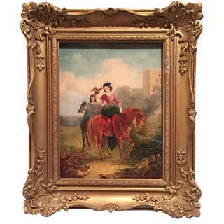 Painting of Lady with Bird on Horseback
