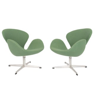 Arne Jacobsen Danish Modern Green Swan Chairs - A Pair
