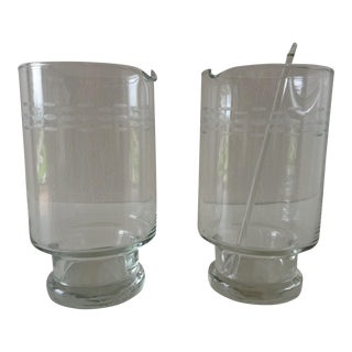 Mid-Century Etched Cocktail Martini Mixers- A Pair