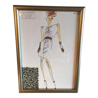 Framed Givenchy Croquis of a Wool Tweed Dress