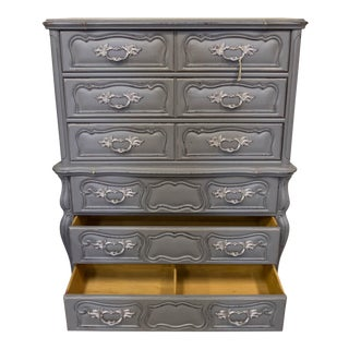 Bassett Furniture Tall Gray French Provincial Antique Dresser