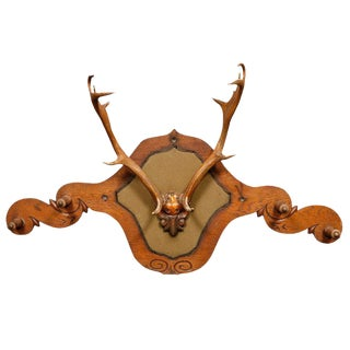 Victorian Carved Oak and Antler Coat/Hat Rack