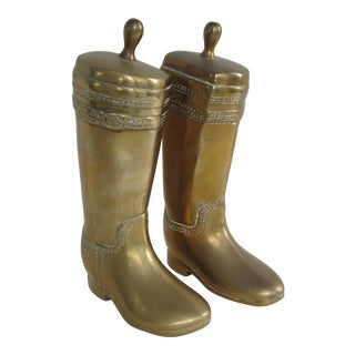 Vintage Brass Equestrian Boot Bookends - A Pair