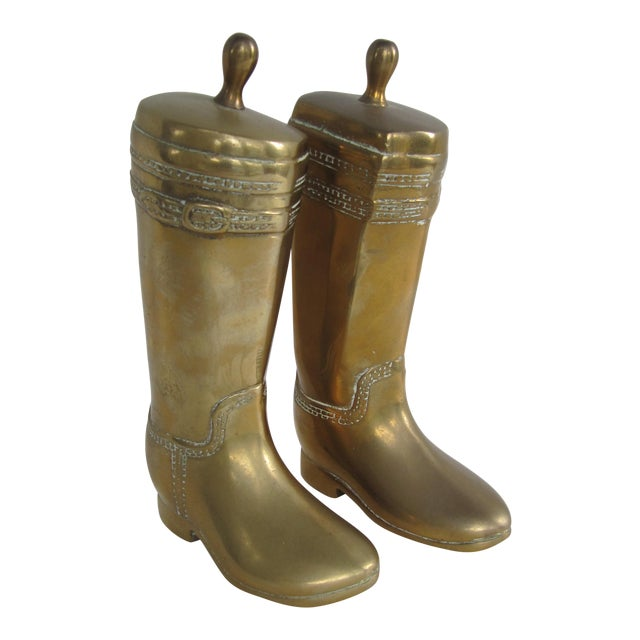 Vintage Brass Equestrian Boot Bookends - A Pair - Image 1 of 9