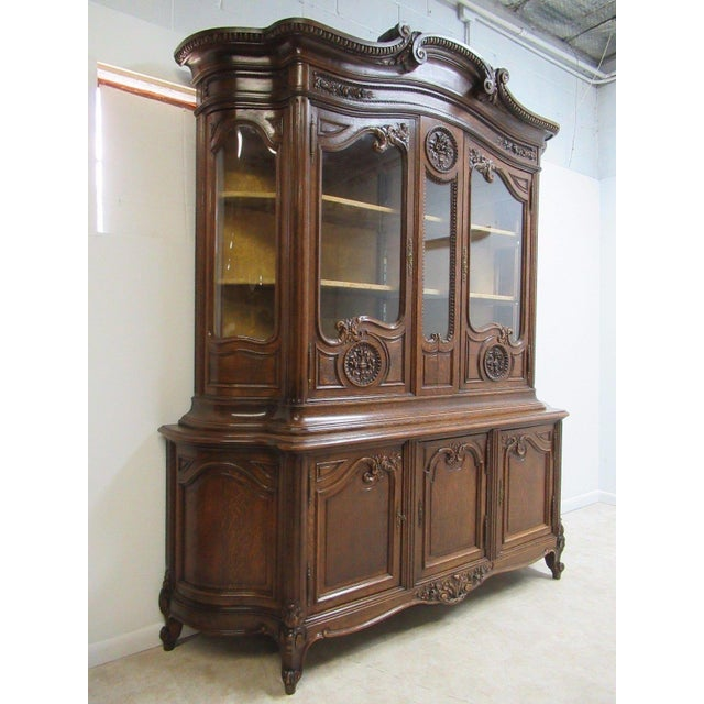 Antique Tiger Oak French Carved China Cabinet - Image 3 of 10 - Antique Tiger Oak French Carved China Cabinet Chairish
