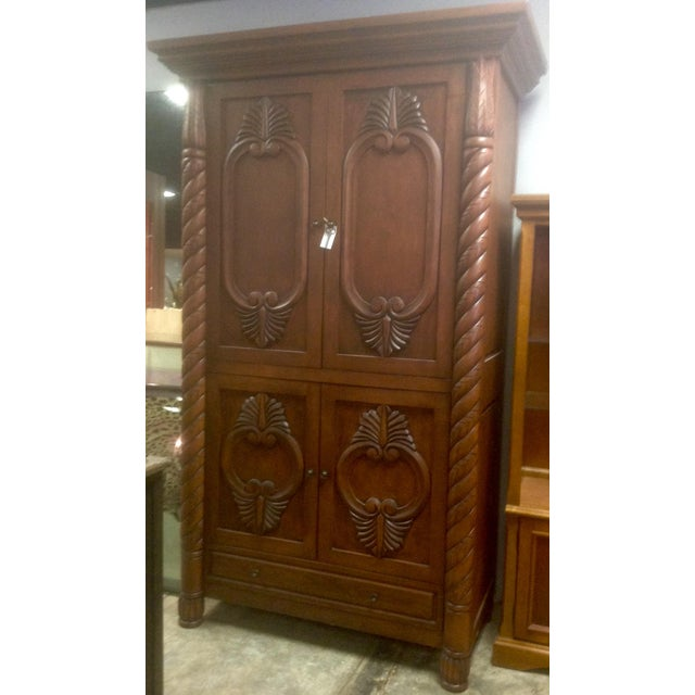 Image of Carved Solid Wood Armoire