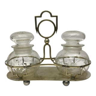 Pickle Jars on Brass Stand - A Pair