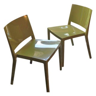 Authentic Green Kartell Lizz Chairs - Pair