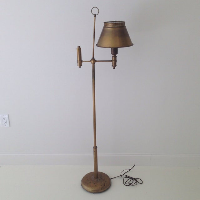 Aged Brass Tole Floor Lamp - Image 11 of 11