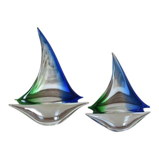 Mid Century Blue and Green Murano Glass Sailboats - Set of 2