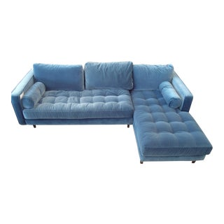 Pacific Blue Velvet Sectional Sofa