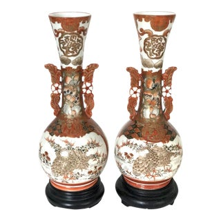 19th C. Antique Japanese Kutani Vases- A Pair