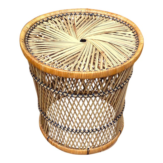 Vintage Wicker Side Table - Image 1 of 5