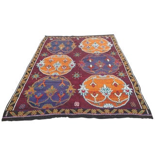 Vintage Handwoven Turkish Kilim Rug - 6′10″×8′11""