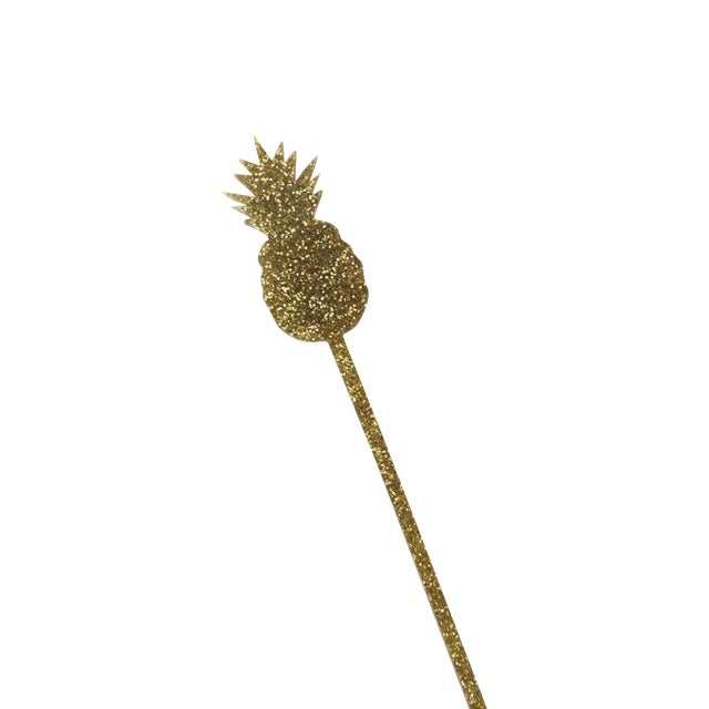 Image of Gold Glitter Pineapple Drink Stirrers - Set of 6