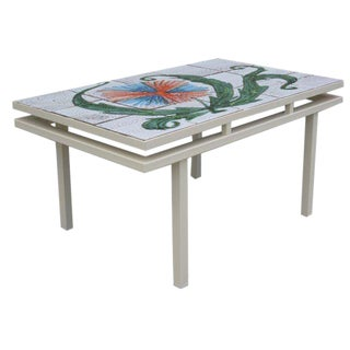 Charming Mid-Century French Tiled Coffee Table