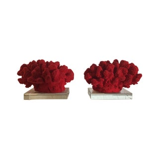 Faux Red Coral Bookends - A Pair