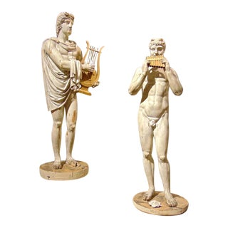 Italian Grand Tour Neoclassical Carved Life-size Statues of Apollo and Marsyas