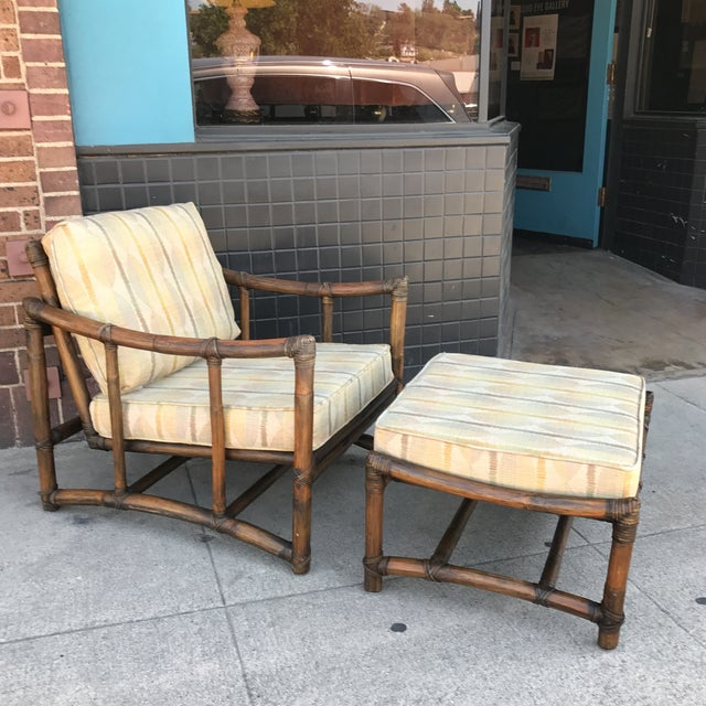 Vintage McGuire Lounge Chair & Ottoman - Image 4 of 10
