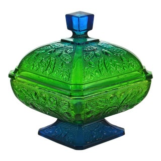 Blue Green Gradient Glass Lidded Bowl