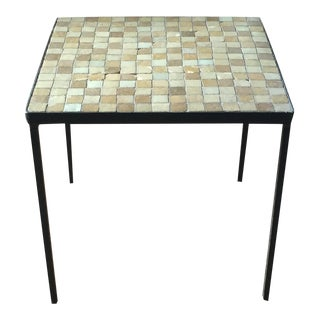 Mid-Century Tile Top Metal Side Table