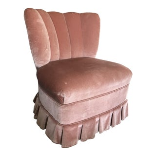 Vintage Channel Back Pink Velvet Vanity Chair