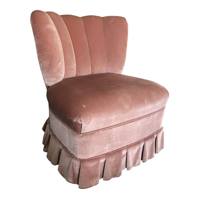 Vintage channel back pink velvet vanity chair chairish - Bedroom vanity chair with back ...