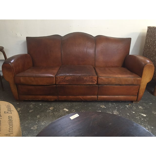 Vintage Leather Mustache Sofa - Image 2 of 9