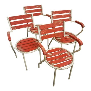 Red-Painted Garden Chairs - Set of 4