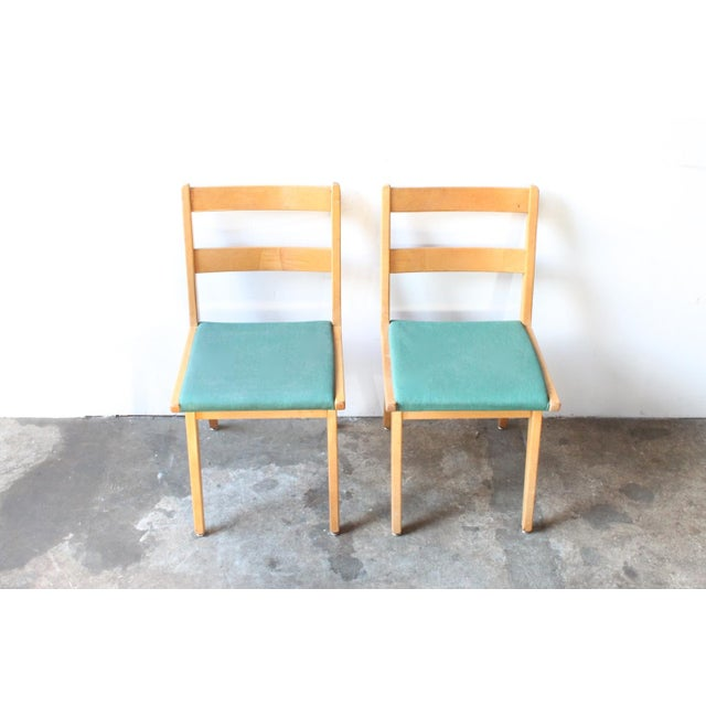 Maple & Turquoise Vinyl Side Chair - Image 5 of 7