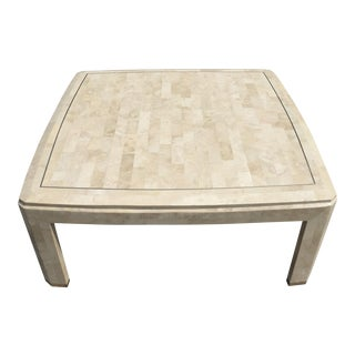 Maitland Smith Tassellated Stone Brass Inlay Mosaic Coffee Table