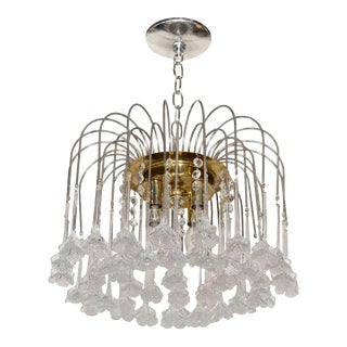Mid Century Murano Two Tier Handblown Murano Glass Floral Pendant Chandelier