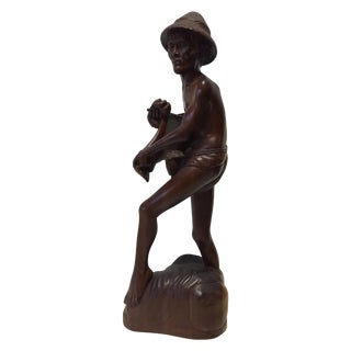 Rosewood Hand Carved Asian Fisherman Statue