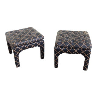 Pair of Square Tufted Benches
