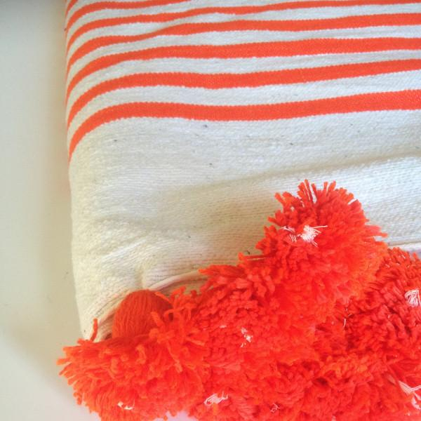 Orange Striped Moroccan Blanket with Tassels - Image 2 of 2