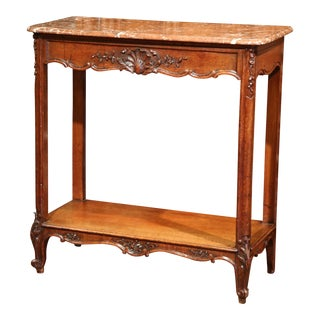 19th Century French Carved Oak Two-Tier Console Table with Marble Top