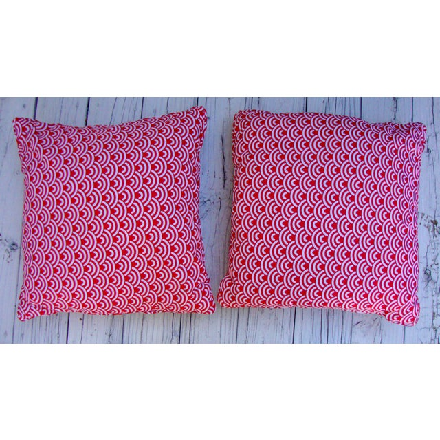 Custom Red White Modern Designer Pillows - A Pair - Image 6 of 7