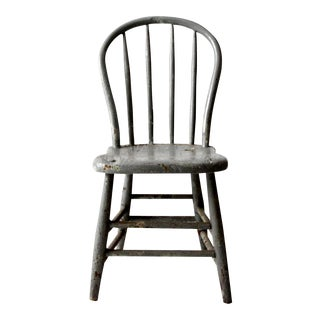 Antique Primitive Gray Spindle Chair